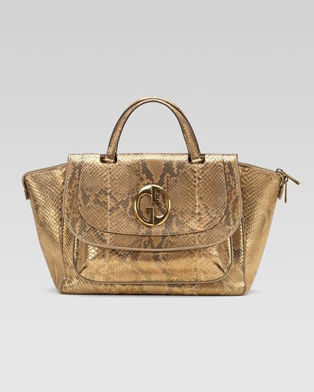 1973 Medium Top Handle Bag, Oro/Champagne Python