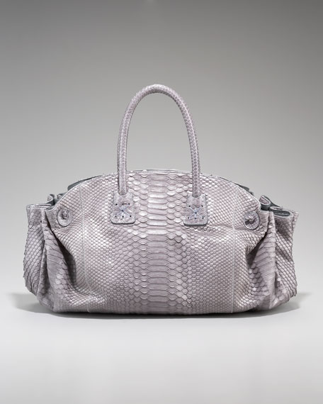 East-West Gathered Python Tote
