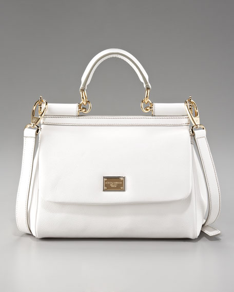Small Miss Sicily Leather Handbag, White