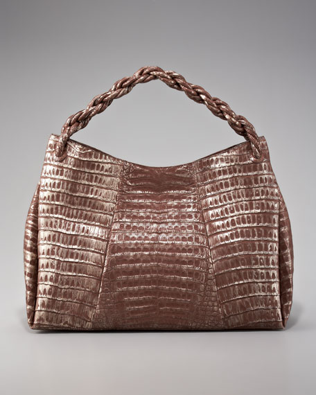 Braid-Strap Crocodile Hobo
