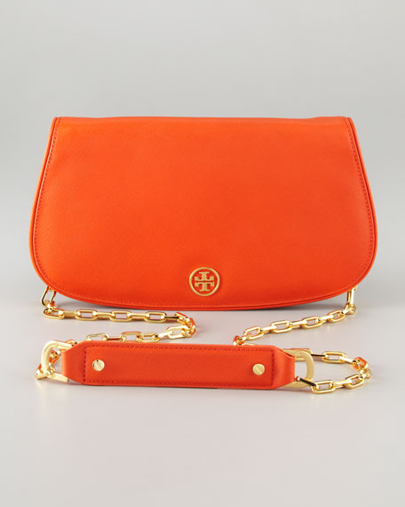 Saffiano Flap-Top Clutch Bag