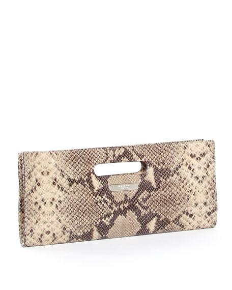 Tilda Clutch, Dark Sand Python-Embossed Leather