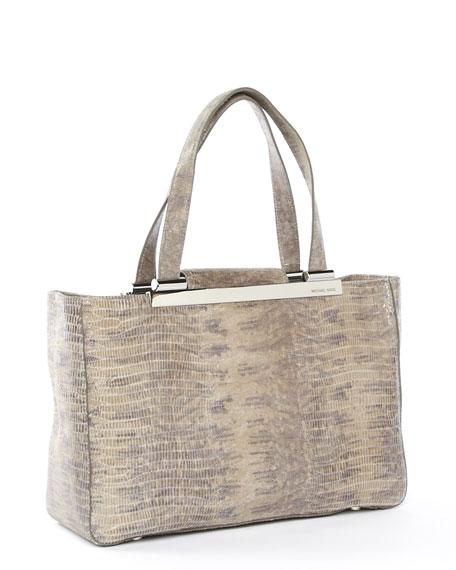 Tilda Large Tote Bag, Slate Croco-Embossed Leather