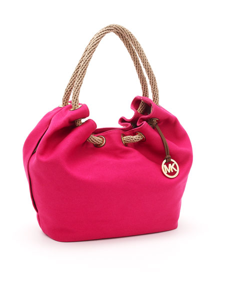 Large Marina Shoulder Tote, Electric Pink