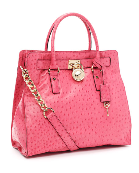 Large Hamilton Ostrich-Embossed Tote, Electric Pink