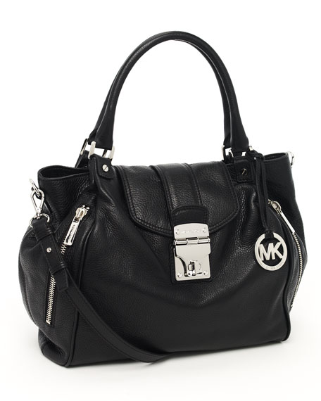 Jenna Large Tote, Black Leather