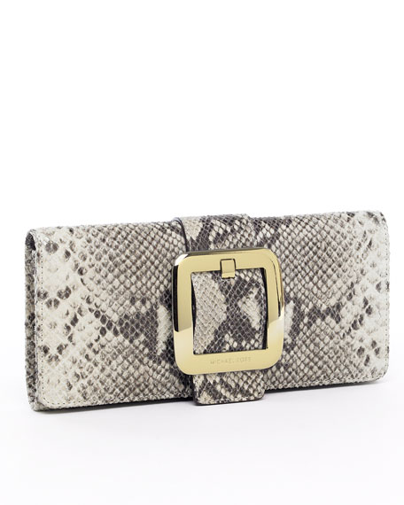 Sutton Python-Embossed Clutch, Sand