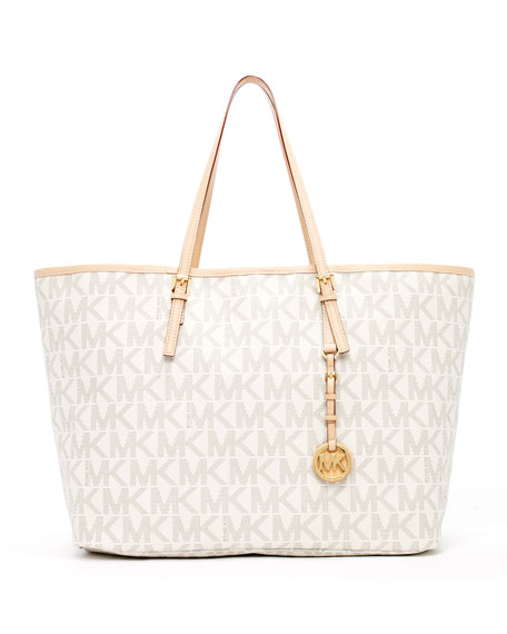 Bolsa Michael Kors Tote Vanilla : Michael kors jet set logo medium travel tote vanilla