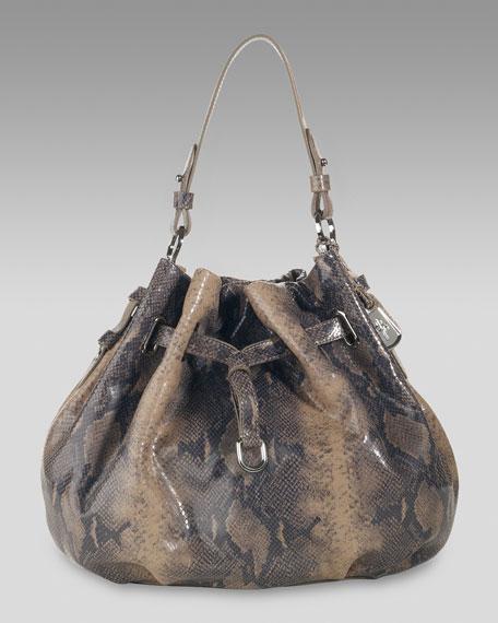 Ellie Snake-Print Drawstring Bag, Large