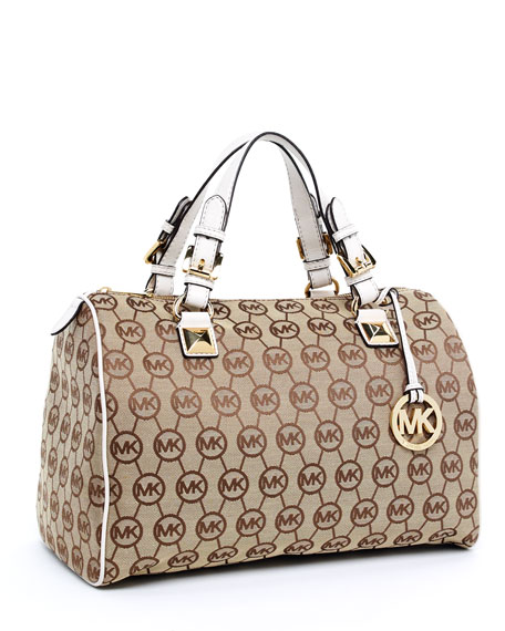 Grayson Monogram Large Satchel, Beige/Ebony