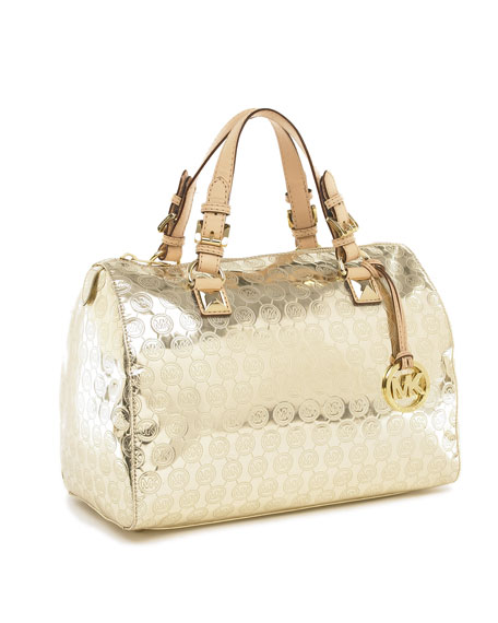 Grayson Large Jet Set Monogrammed Satchel, Pale Gold