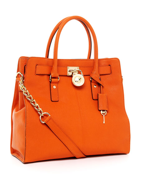 Hamilton Large North South Tote, Tangerine