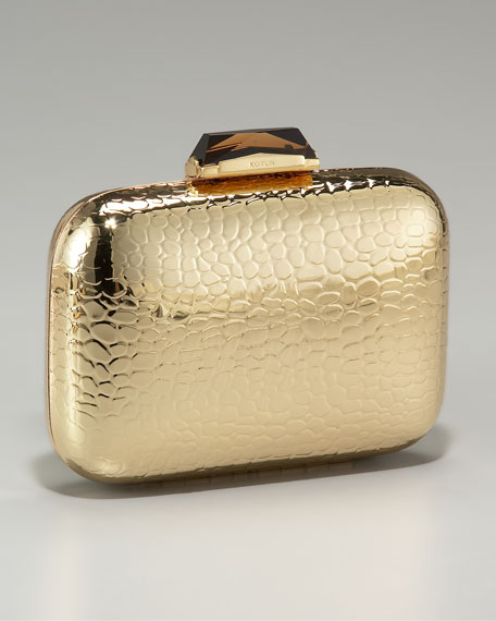 Morley Croc-Embossed Box Clutch
