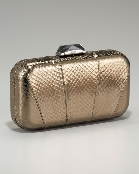 Breen Snakeskin Clutch, Pewter
