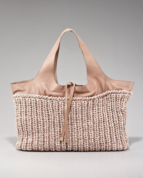 Cotton & Leather East-West Tote