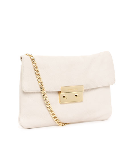 Sloan Python-Embossed Clutch, Dove White
