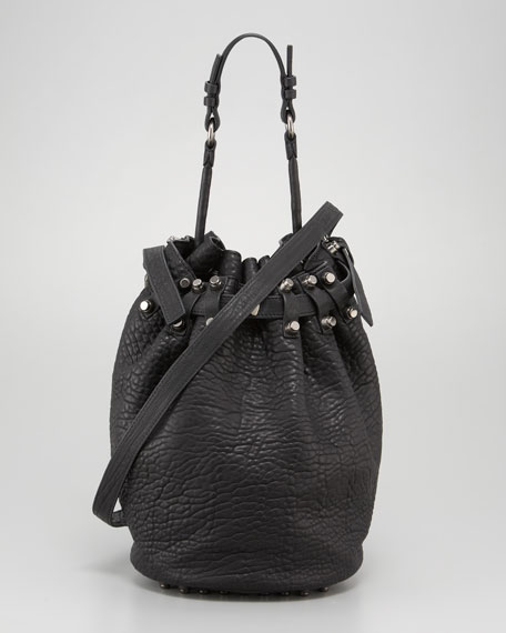 Diego Bucket Bag, Black Nickel Hardware