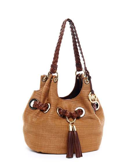 Large Grommet Shoulder Bag, Natural/Mocha