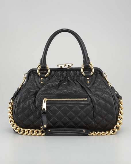 Stam Quilted Satchel Bag, Black