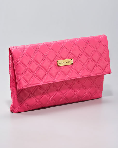 Eugenie Quilted Leather Clutch, Large