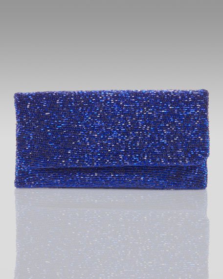 Beaded Flap-Top Clutch, Royal