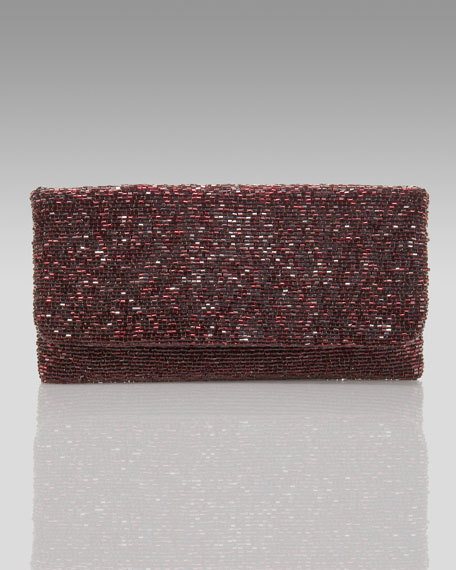 Beaded Flap-Top Clutch, Aubergine