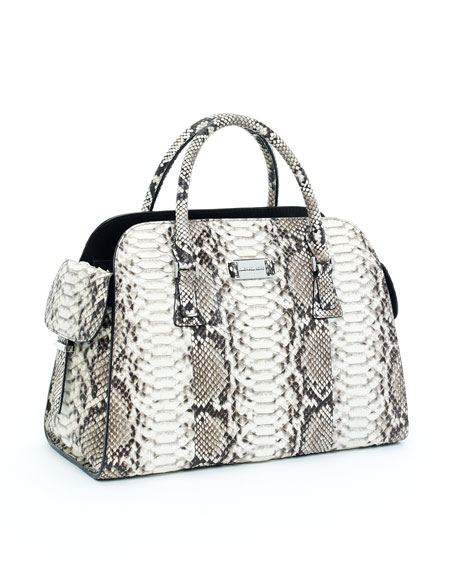 Gia Leather Satchel, Natural Crocodile Embossed