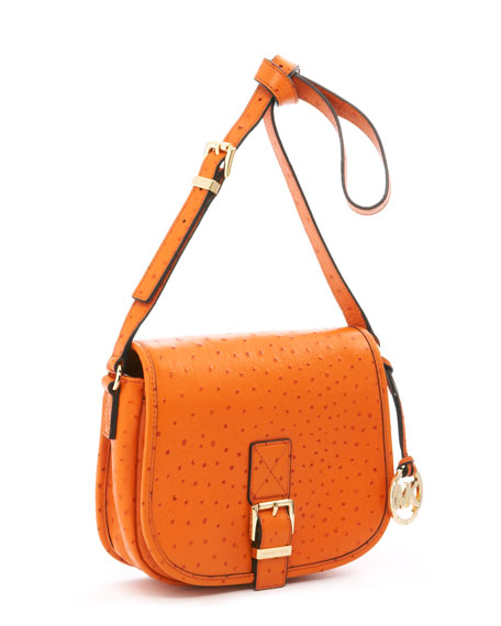 Medium Saddle Bag Messenger Bag, Tangerine