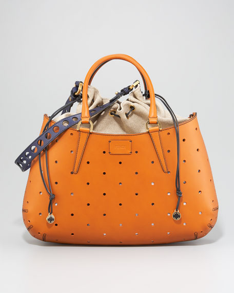 One + One Drawstring-Top Perforated Leather Bag, Medium