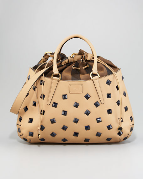 One + One Studded Drawstring-Top Satchel