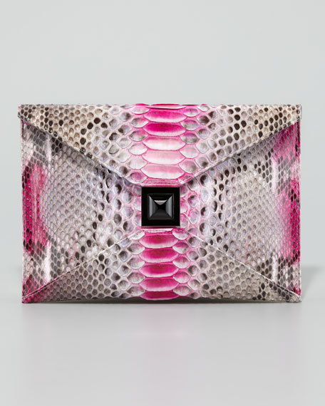 Prunella Python Clutch Bag, Pink