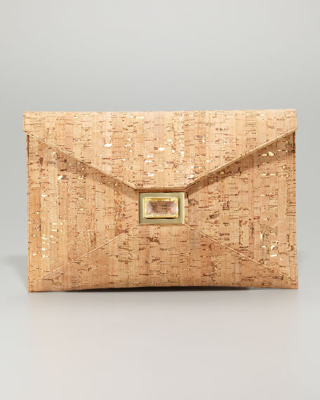 Prunella Cork Clutch Bag, Large