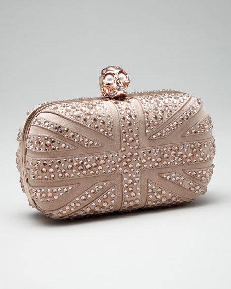 Crystal Britannia Box Clutch, Pink