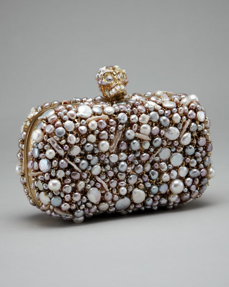 Pearl-Encrusted Skull Clutch Bag