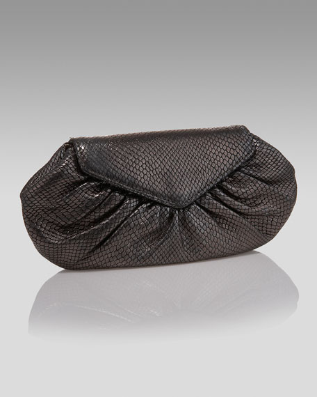 Snake-Embossed Diana Clutch