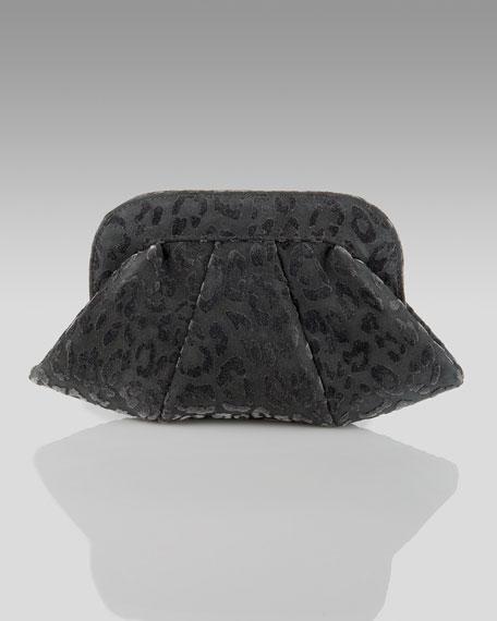 Leopard-Design Velvet Lucy Clutch