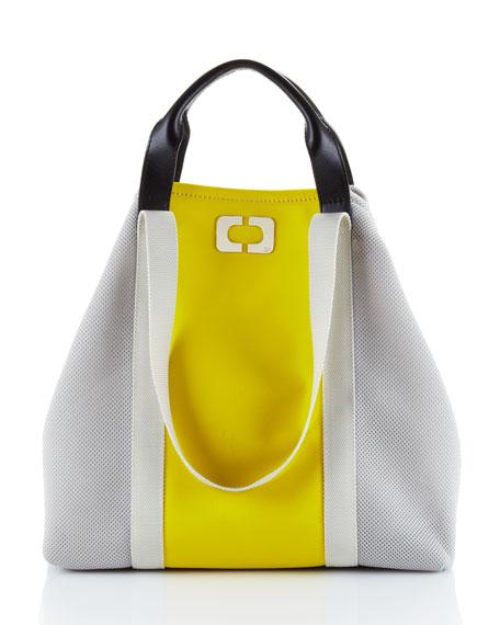Kaya Colorblock Canvas Tote, Yellow (CUSP Top Seller!)