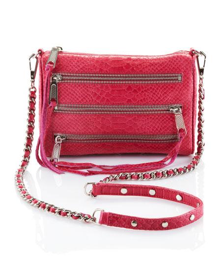 Five-Zip Mini Bag, Fuchsia