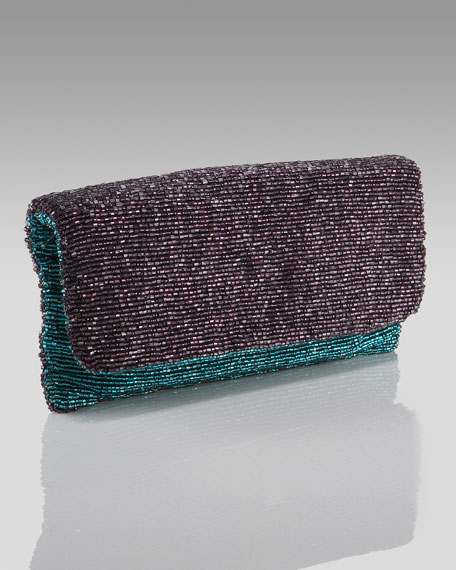 Beaded Colorblock Clutch, Dark Purple/Teal