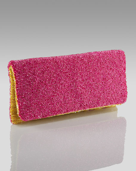 Beaded Colorblock Clutch, Pink/Yellow