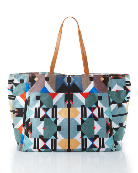 Geometric-Print Canvas Tote Bag