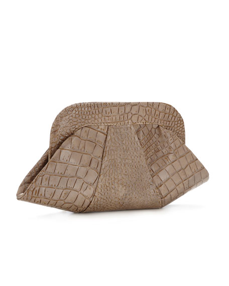 Lucy Croc-Embossed Clutch, Taupe