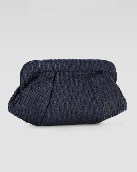 Tatum Raffia Clutch Bag, Navy