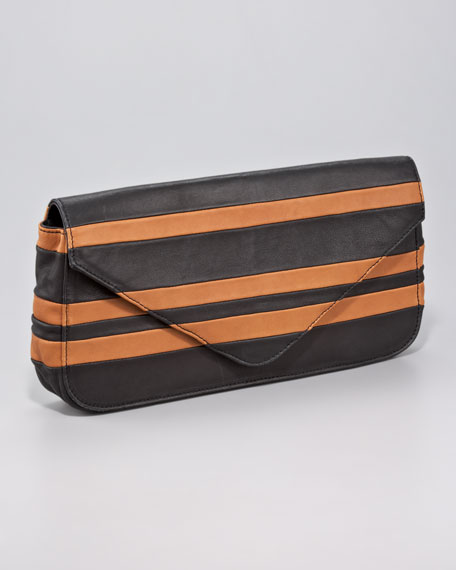 Pissa Striped Lambskin Clutch Bag