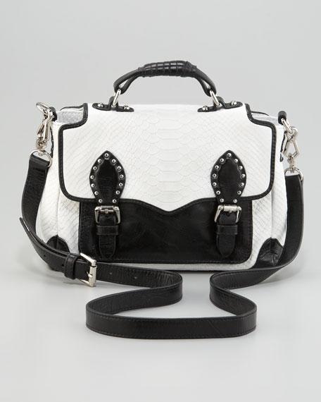 Schoolboy Snake-Embossed Leather Tote Bag