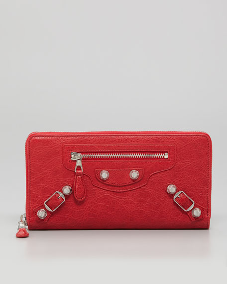 Giant Nickel Continental Zip Wallet, Coquelicot Rouge