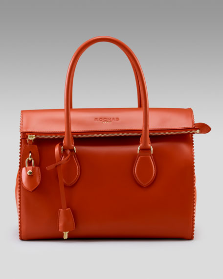 Scalloped Leather Satchel