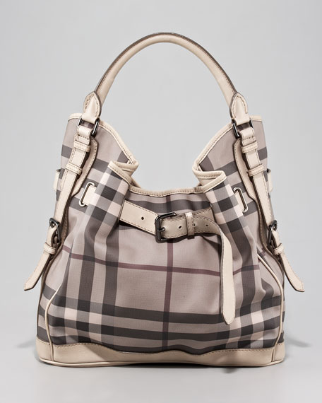 Belted Check Hobo Bag, Medium