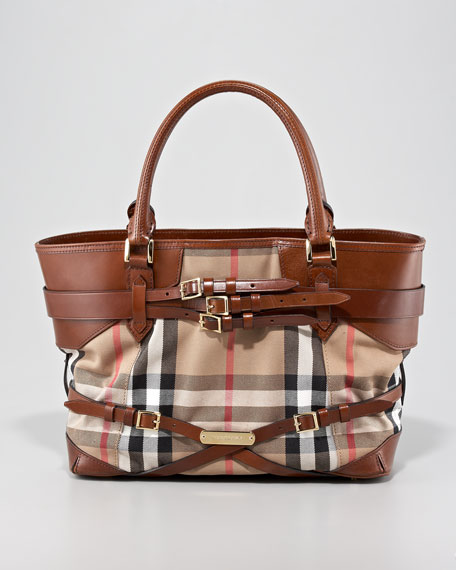 Belted Check Tote Bag, Medium