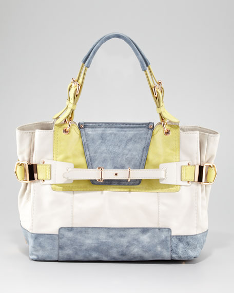 Cally Colorblock Leather Satchel Bag